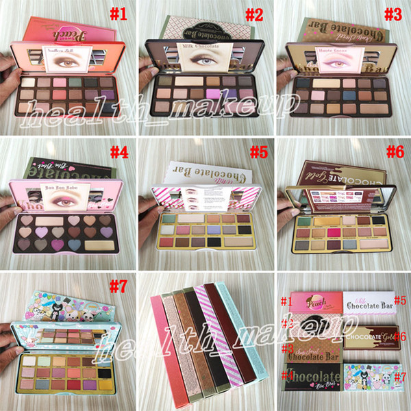 Too Face Barra de chocolate Sombra de ojos Semi-dulce Sweet Peach Bon Bons Palette 16 Color White Eye Shadow Gold Palettes Envío gratis