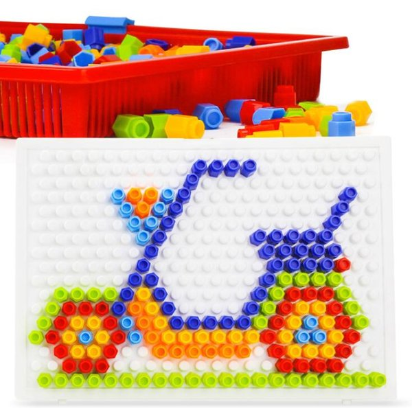 Creative Hexagon Mushroom Nails Pegboard Puzzles Kids Children Occupational Therapy Fine Motor Skill