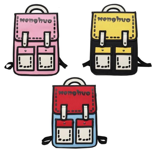 Brand3D Menghuo Anime Cartoon School Bag Backpack School Cartoon Canvas Bag 3D Style 2D Book Design Travel Backpacks