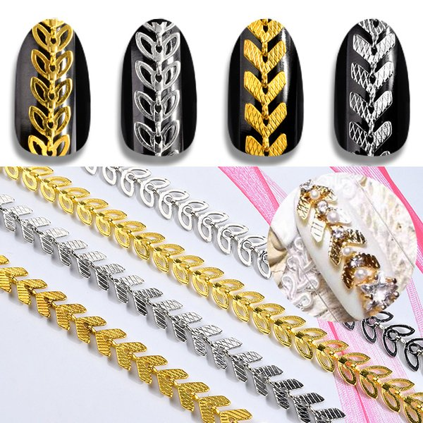 1Pack Gold Silver Metal Nail Art Chains Leaf Aircraft Design 3d Decorations Hollow Leaves Nail Studs Rivet Manicure Accessories