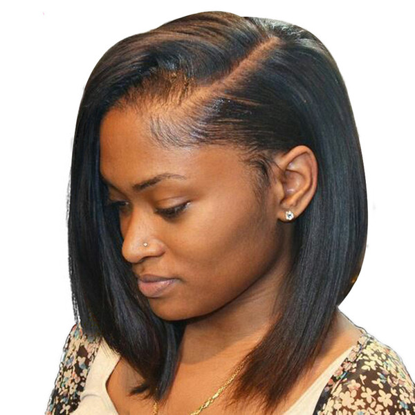Short Lace Front Human Hair Wigs Brazilian Straight Remy Hair Bob Wig with Pre Plucked Hairline Bleached Knots