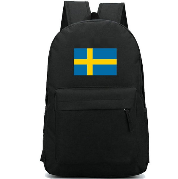 Sweden flag backpack Cool country day pack Blue yellow banner school bag Casual packsack Good rucksack Sport schoolbag Outdoor daypack