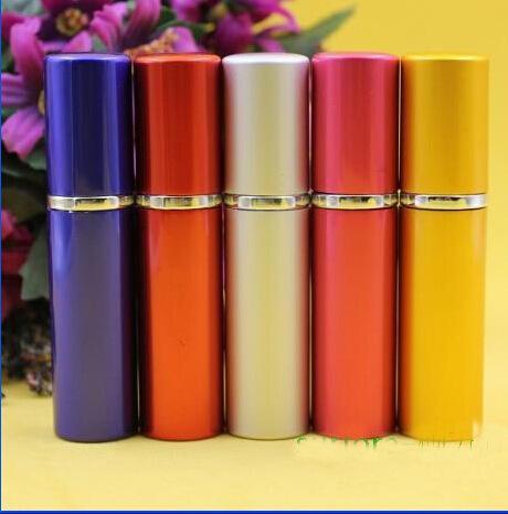 2018 5 ml Botella de perfume Colorido Liso Aluminio Recargable Perfume Atomizador Botellas de viaje Fragancia Botellas de aerosol de vidrio Fragancias para el hogar
