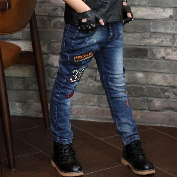 2018 Poches de mode coréenne pour enfants de la Nouvelle-Angleterre Style Big Boy hommes taille élastique enfants pantalons lettre caractère Jeans bébé vêtements