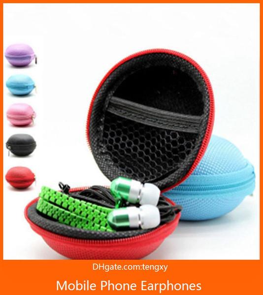 écouteurs à glissière 3.5mm jack écouteur intra-auriculaire avec microphone casque cremallera tête téléphone pour iphone filaire mobile écouteur avec forfait