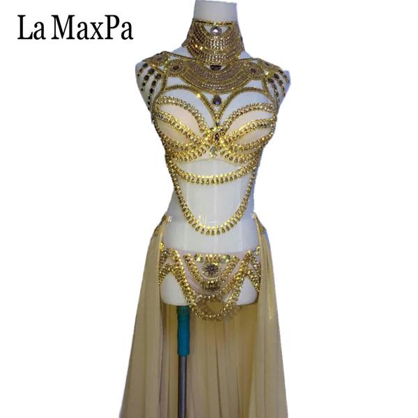 La MaxPa 2017 nouvelle arrivée sexy chanteuse costume dj ds régions occidentales style femmes costume costume or argent danse tenue