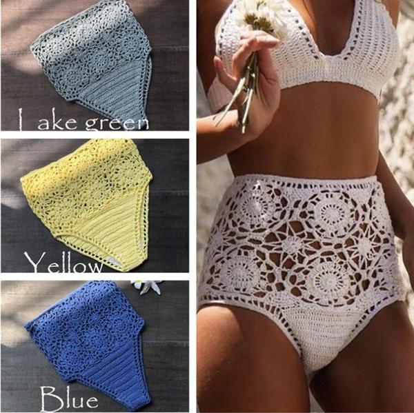 2018 New Hand tricoté évider maillot de bain Short Coton Bikini Bottoms Taille Haute Couleur Unie Blanc Sexy Natation Briefs SML