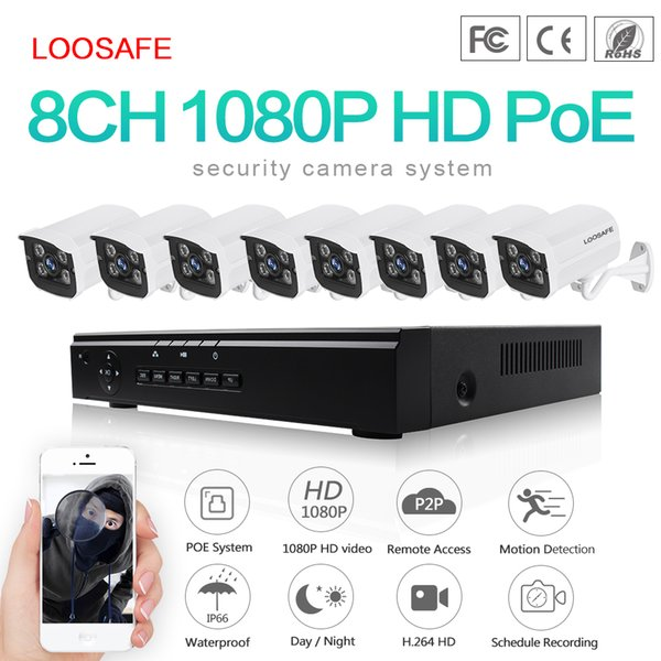 LOOSAFE POE Surveillance Cameras System 8CH 1080P Security Camera POE HD CCTV DVR 8PCS 2.0 MP IR Outdoor Security Camera Kit