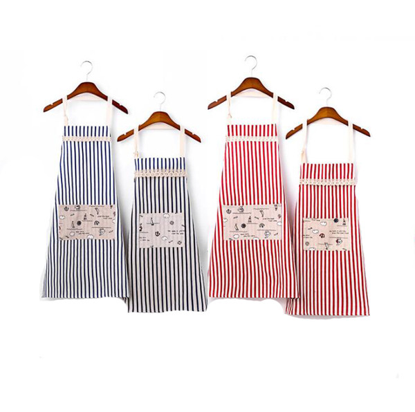 best selling Cotton Linen Big Pocket Apron Stripe Aprons For Adult And Child Apron Japan style Kitchen Cooking Waist Cotton Apron Family Clothing