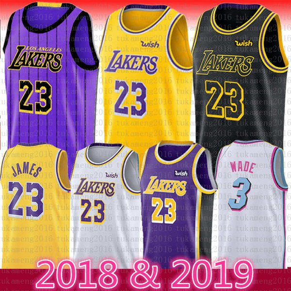 23 LeBron James Lakers Jersey 2018-2019 Los Angeles Lakers James Basketball jerseys 77 Luka Doncic 3 Dwyane Wade Mens Youth Black The City