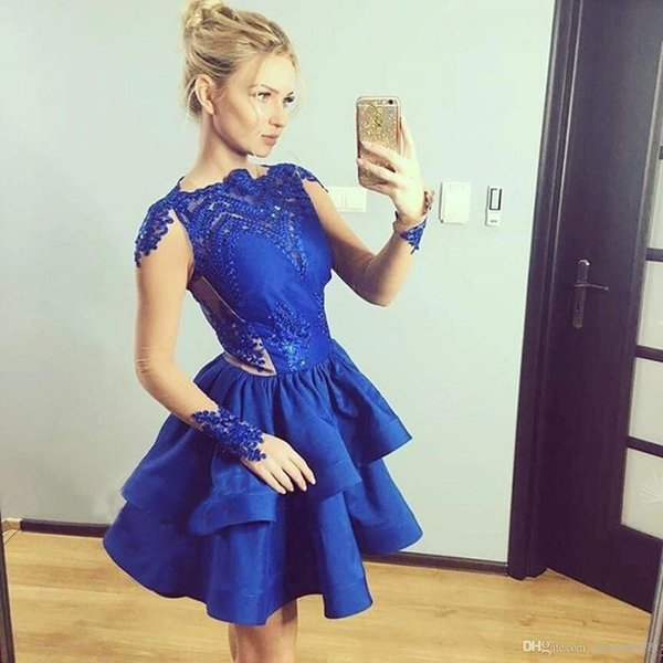 Royal Blue Lace Tiered Dress Coupons And Promotions Get