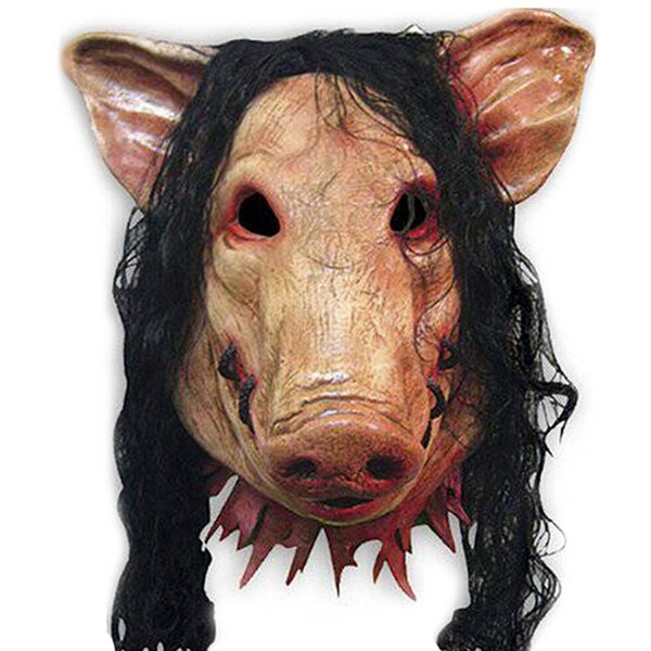 New Saw Pig Scary Mask Adults Full Face Animal Latex Masks Halloween Horror Masquerade Mask With Hair