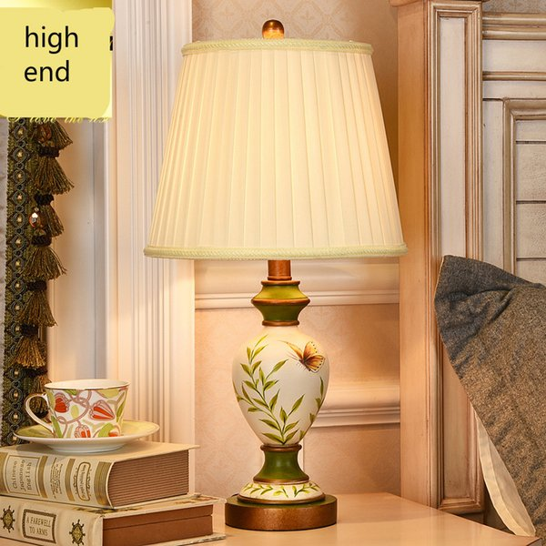 retro Rural Pastoral European Hand Painted Resin Fabric Led E27 Table Lamp For Living Room Bedroom Bedside Wedding Deco 1058