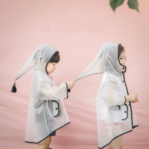 Carino bianco trasparente elfo impermeabile in nylon cappotto pioggia bambini poncho antivento scuola materna studente impermeabile JJ-SYYY119-