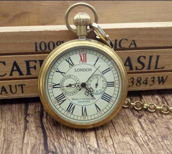 Al por mayor-Antique Copper London Pocket Fob Relojes Reloj mecánico Mano Viento Esqueleto para hombre Reloj de bolsillo con cadena Caja de regalo de Navidad