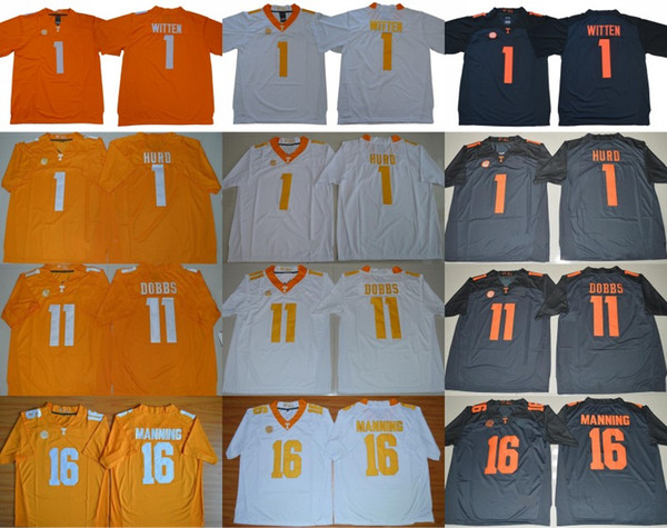 NCAA Tennessee Volunteers College 1 Джейсон Виттен Джален Херд Оранжевый Синий Белый Сшитые 11 Доббс 16 Университет Пейтон Мэннинг Футбол Джерси
