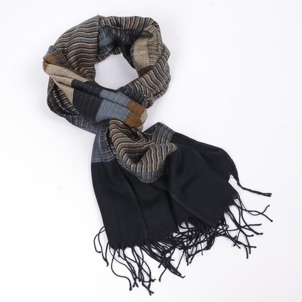 JeouLy 2017 double fines foulards à rayures hommes hiver nouvelle marque Fashion écharpe à carreaux pour hommes confortable chaud longue écharpe de coton bleu