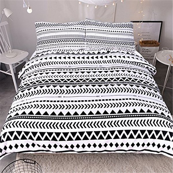 Brief fashion 3D print white Geometry Pattern Bedding Set Comforter 3pcs Bedclothes Twin Full Queen King Duvet Cover pillowcase
