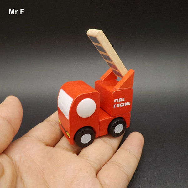 Exquisite Mini Fire Fighting Truck Wooden Vehicle Car Creative Toys Kids Gifts Learning Educational Teaching Prop Gadget