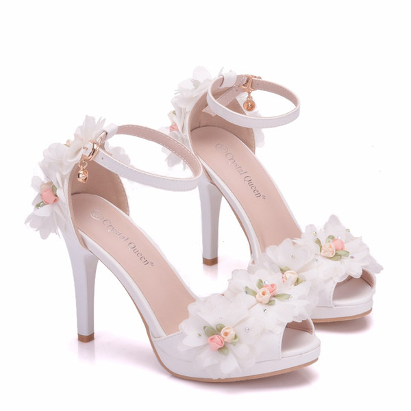 New Fashionl Flowers peep toe shoes for women heels white pearls Word buckle wedding shoes thin heels shoes elegant Plus Size Bridal sandals