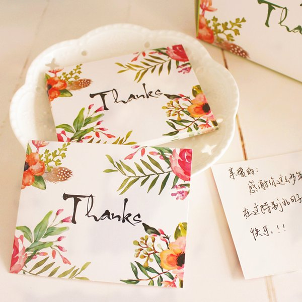 """50pcs/lot flower """"thank you"""" Gift decoration card Writable card 8x10cm Message card free shipping"""