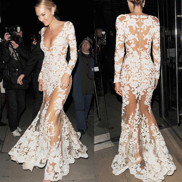 2019 mujeres blancas noche de cóctel de verano pura malla floral bordado de encaje de ganchillo maxi vestidos largos hippie boho Wed vestido de encaje vestido