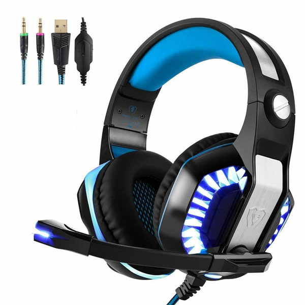New 3.5mm Gaming Over-Ear Headset with Mic LED Lights and Volume Control Stereo Bass Noise Cancelling for PS4 Xbox One PC Tablet Smartphones