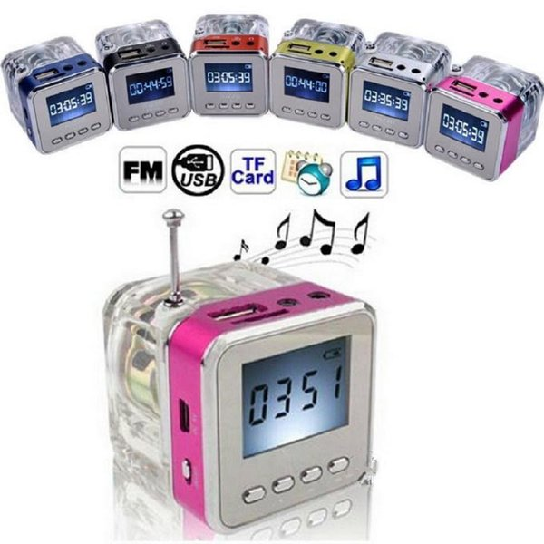 Mini FM Radio economici Buon altoparlante portatile Micro SD Card USB Music Player MP3 Sound Box LED Screen clock