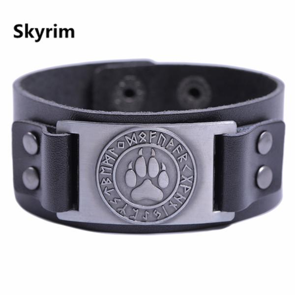 Skyrim Adjustable Vintage Wristband Leather Wide Bracelet Viking Wolf Bear Bracelet Men Leather Bangles