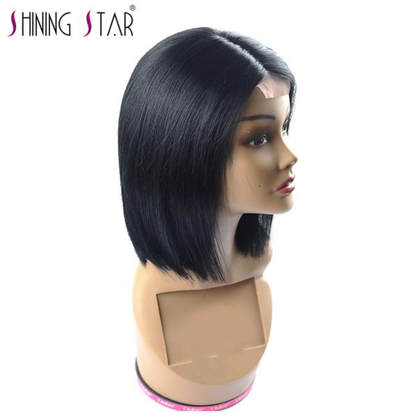 Pelucas brasileñas del pelo recto corto para las mujeres negras 150% densidad pelucas del cordón del pelo humano Extremo completo No remy Shining Star Hair