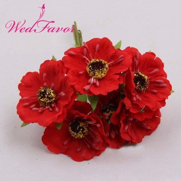 WedFavor 60pcs 4.5cm Silk Fabric Rose Bouquet Artificial Poppy Cherry Blossom Wedding Flowers For Garland Hair Decoration