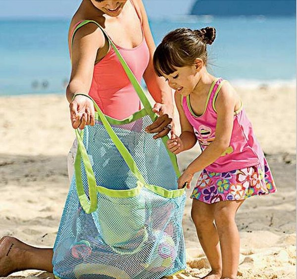 Free Large Space Mesh Bags Children Beach Sandy Toy Collecting Bags Toys Clothes Towel Outdoor Shoulder Bags Baby Handbag Totes 300Pcs