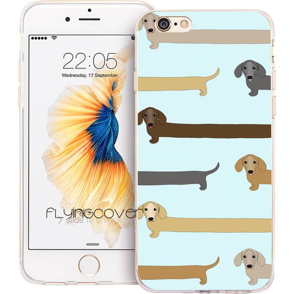 Cão longo do bassê claro casos de casca de coque de silicone macio tpu para iphone 10 x 7 8 mais 5s 5 se 6 6s mais 5c 4s 4 ipod touch 6 5 cobrir.
