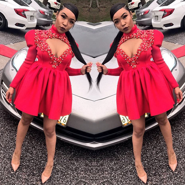 2018 Short Prom Dresses High Neck Long Sleeves Open Front Flowers Appliques Satin Special Occasion Dresses Evening Gowns Custom Made SP082