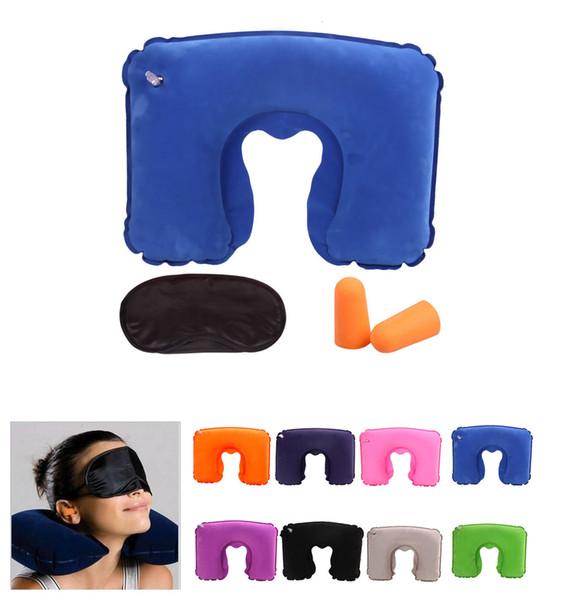 3 in 1 Inflatabl Boyun Yastık Minder Göz Gölge Maskesi Blinder Kulak Tıkaçları Açık Kamp Araba Uçak Seyahat Yastık Set Uyku Hava Yastık