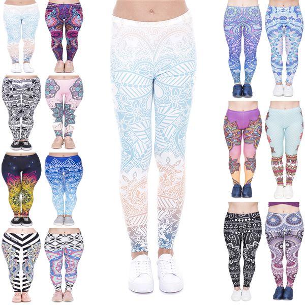best selling Women Leggings 14 Styles Mandala Mint Graphic Print Lady Skinny Stretchy Comfortable Pants Gym Pencil Fit Soft Capris Yoga Trousers (JL003)