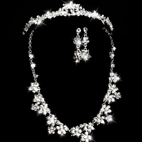 Necklace alloy glass drill chain bridal crown bridal headwear set