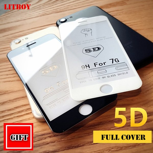 New 5D Full Cover Edge Tempered Glass For iPhone 8 7 6 Plus Screen Protector For iPhone 6 6s 7 Plus Film Protection Glass