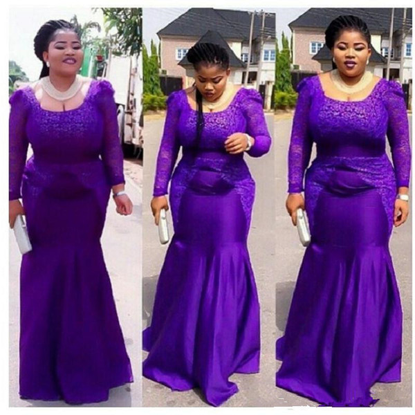 Plus Size Purple Prom Dresses 2018 Mermaid Long Sleeve Square Long Lace  Trumpet African Nigeria Evening Gowns For Maxi Women New Style Evening  Dresses ...