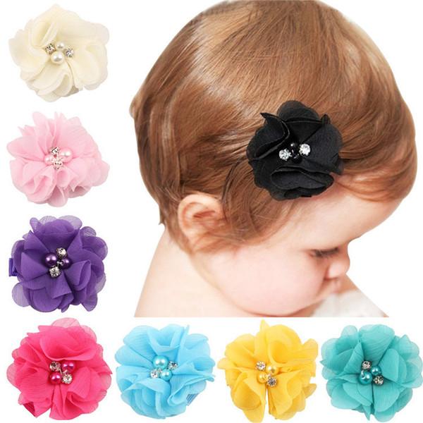 Heißer Verkauf Chiffon Handarbeit Perle Strass Blumen Haarnadel Kinder Kopfschmuck Blume Clip Baby Haarzusätze T3G0030