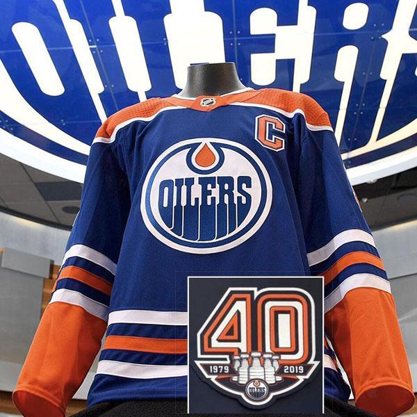2018 2019 Nuovo arrivo vendita calda 40th Anniversiry Patch Edmonton's Women's Kid's Youth personalizzato Qualsiasi nome NO maglie di hockey su ghiaccio