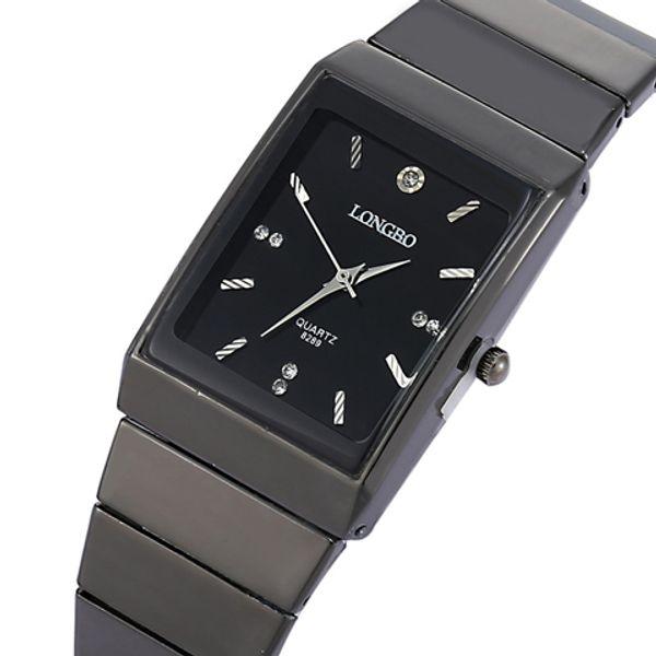 Moda Retângulo LONGBO Marca Japão Relógios De Quartzo Homens Completa Preto de Aço Inoxidável Banda de Alto custo desempenho Relógio de Pulso Movimento