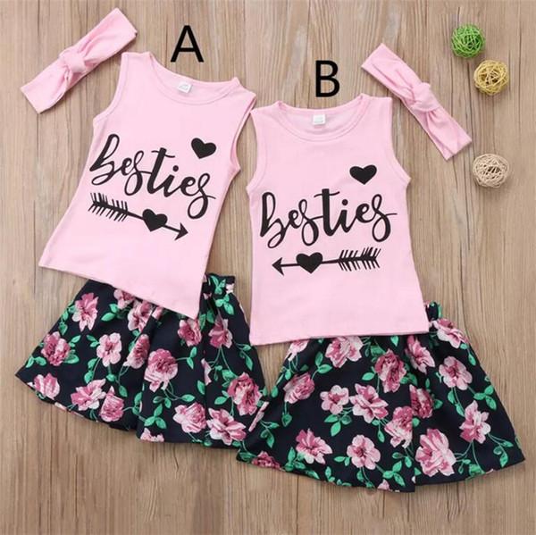 Bebés Meninas irmãs verão roupas conjuntos 3pc rosa headband + besties arrow impressão camiseta sem mangas + flor saia bonito roupas meninas da criança