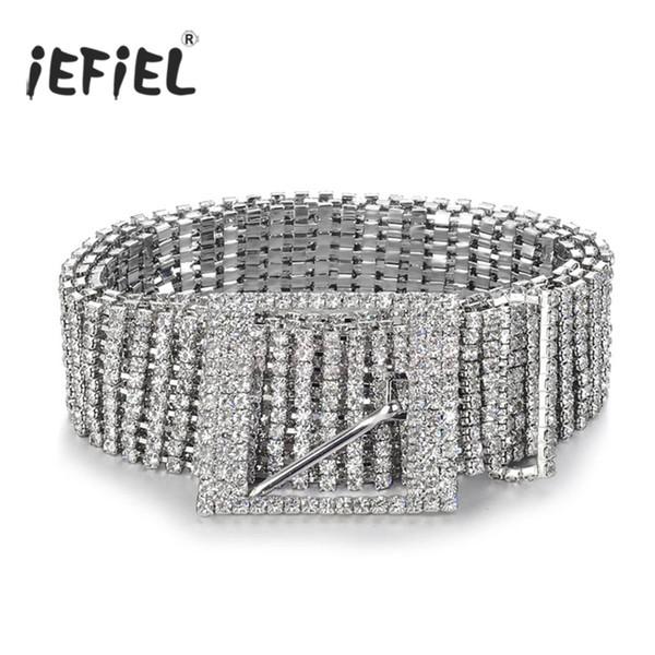 Adult Metal Belts Women's Diamante Crystal Chain Belt Full Rhinestone Bride Wide Bling Female Crystal Waist Belt Accessories