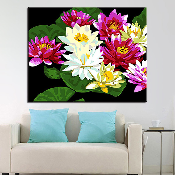 DIY verano Lotus Pictures pintura al óleo por kits de colores para colorear abstracto colorido verano en lona decoración del hogar del arte de la pared marco
