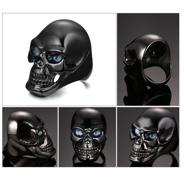 Fashion Gothic Mens Punk Motorcycle Biker Ring Fashion Black Skull Skeleton Cool Man Finger Band ring size 7-14#