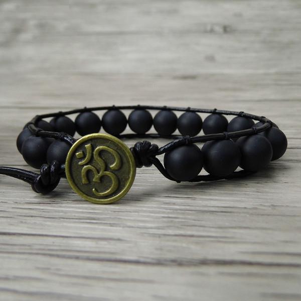 Nero opaco perline avvolgere bracciale singolo uomini braccialetto di perline avvolgere in pelle boho nero yoga gioielli bohemien dropshipping