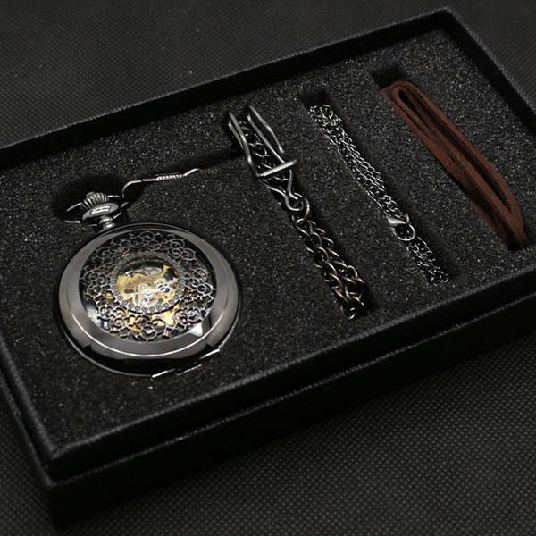 Hollow Stylish Gift Set for Mechanical Pocket Watch Set Men Women Black Steampunk Skeleton Watches Clock Gift Box Bad Chain