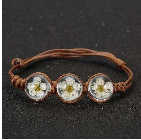 Summer Style Glass Ball Woven Bracelet Weave Lucky Flower Bracelets Handmade Dried Flowers Glass Beads Bracelet Women Jewelry