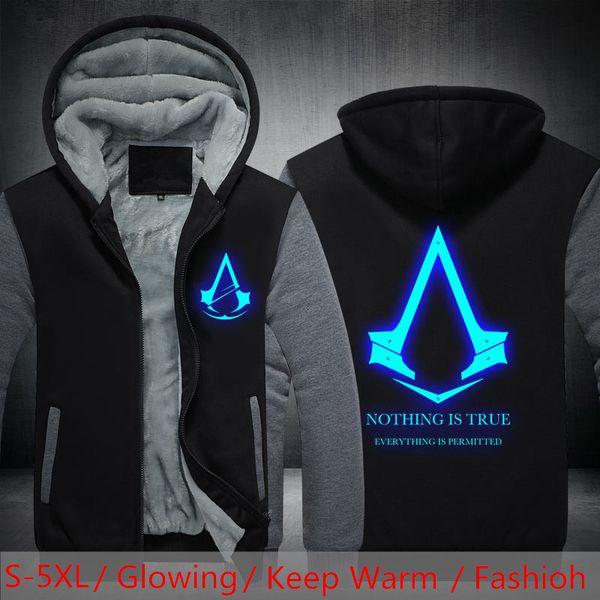Dropshipping USA SIZE Assassins Creed Luminous Glowing Jacket Men Women Hoodies Sweatshirts Winter Fleece Men's Coats Clothing
